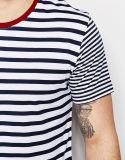 100% قطن [منس] سوداء وبيضاء شريط قميص