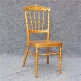 Sillas de aluminio de Chiavari Napoleon del estilo de la corona del respaldo de la boda del oro real del acontecimiento con el amortiguador de asiento fijo (YC-AS83)