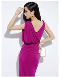 La moda más reciente de color rosa parte vestido de mujer