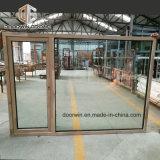 Alumínio revestido de madeira de carvalho, empurre para fora da janela Casement