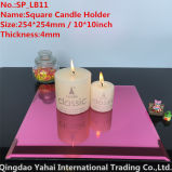 4mm Large Square Pink Glass Candle Holder