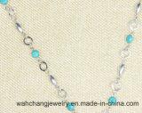 Halsband van de Tegenhanger van de Steen van de manier de Zilveren en Natuurlijke Turkooise