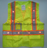 Laag van de Taille van het LEIDENE de Opvlammende Gele Hoge Vest van het Zicht Weerspiegelende