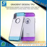 Cas transparent de téléphone mobile de placage de bouton en métal pour Samsung S8/S8 plus