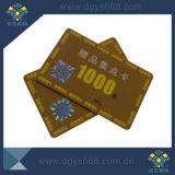 Cartão feito sob encomenda do PVC da sociedade com folha de carimbo quente do ouro