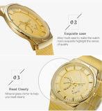 OEMのカスタムロゴのクロノグラフのステンレス鋼の背部防水決め付けられた優雅の人腕時計の価格