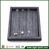 Plateau en cuir d'étalage de bijou d'unité centrale de coutume exquise