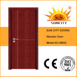 Porte de bois intérieur MDF en bois de sécurité économique (SC-W050)