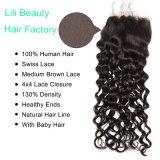 Lili Salão Lace Encerramento 4X4 parte livre de cabelo humano Encerramento com a cor natural do pêlo do bebé