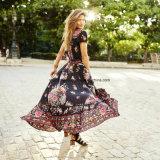 De femmes de l'été V de collet de cru de Boho maxi robe Chiffon nationale florale neuve Sundress floral de plage d'usager de robe longtemps