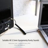 コイル状のステレオの可聴周波ケーブル3.5 mmは、金携帯電話の音声ケーブルをめっきした