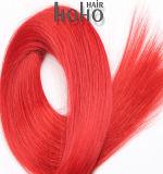 Het rode Menselijke Haar van de Fusie van de Keratine van 24 Duim Rechte