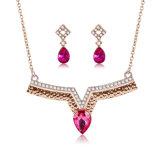 새로운 디자인 빨간 다이아몬드 결혼식 보석 세트