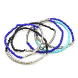 Böhmen-Marine-blaues Schwarzes Seedbead elastische Ausdehnungs-Raupe-Armbänder eingestellt