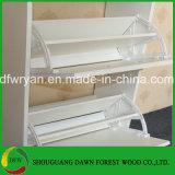 Armário de madeira da unidade da cremalheira do carrinho dos calçados da gaveta do gabinete de armazenamento 2 da sapata do MFC