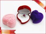 Rectángulo del anillo del terciopelo de la caja de embalaje de la joyería del rectángulo del anillo de Rose