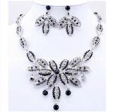 La joyería de moda de verano/ 2013 chapado en aleación de zinc con muebles antiguos de plata negro rhinestone parte Conjunto de collar pendientes (PN-095)
