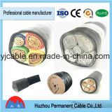 PVC de câble d'alimentation de 4 faisceaux isolé avec le fil d'acier blindé