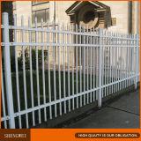 Spray de polvo blanco elegante valla de hierro forjado.