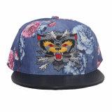 Sombrero del Snapback de la tela de la flor con el borde de cuero, bordado por encargo (GK15-L0001)