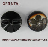 Brushed tinto Polyester Resin Buttons con il laser Flower Patern e Stone (H-1868)