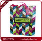 Glückliche Zeit-Geburtstag-Geschenk-Einkaufen-Träger-Geschenk-Beutel mit Satin-Farbbandgriff und Hangtag