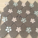 Azulejo de mosaico de mármol Waterjet de Brown del travertino flor de piedra de cristal mezclada hermosa del Rhombus de la mini