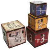 S/4 Doos van de Boomstam van de Opslag van de Druk Pu Leather/MDF van het Ontwerp van het Aantal van de Decoratie de Antieke Uitstekende Vierkante Houten