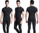 Les collants courants en gros formant le circuit de Spandex de sport gaine le T-shirt des hommes secs d'ajustement