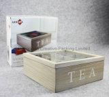 Boîte de empaquetage de pin à thé vide non fini en bois avec le couvercle en verre