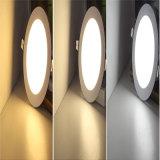 Lámpara ahuecada LED redonda de la bombilla del panel de techo de 3W 6W 9W 12W 15W 18W SMD abajo