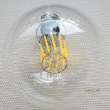 Le globe G95 4W 6W de filament d'E27 DEL chauffent la lampe blanche du filament DEL