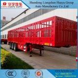 塀が付いている3つの車軸塀か棒または半側板または側面のトラックのトレーラー
