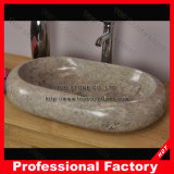 Белый мраморный тазик мытья, естественная раковина ванной комнаты камня гранита
