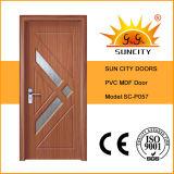 Дверь MDF PVC хозяйственного интерьера фабрики стеклянная (SC-P057)