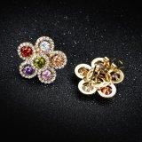 소녀 보석 꽃 모양 다채로운 돌 금 귀걸이