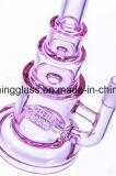 Vidro de cor-de-Rosa chineses fumar Tubo de água com Inline Perc