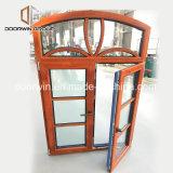Finestra di vetro personalizzata di specialità di legno di figura, finestra di legno di alluminio superiore, finestra di specialità di legno solido