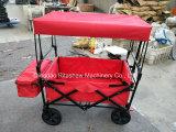 折りたたみ折る実用的なワゴン、買物をする庭カート、屋外(赤)