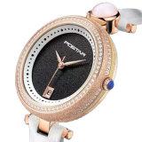 Relógio elegante das senhoras do OEM & do ODM da forma com a faixa do couro genuíno