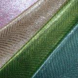 Het Hete Goud die van de Stof van de polyester de Stof van de Schoen van het Leer van Faux Pu stempelen