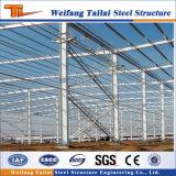 カラー鋼板のパネルの倉庫が付いている中国の標準鉄骨構造のプレハブの建物