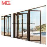 La glace en aluminium de porte de balcon insère la porte de pliage en verre de glissement d'abat-jour