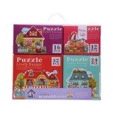 Vier Haus-Geschenk-Puzzle für Ferienzeit