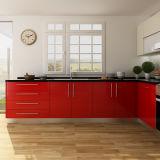 Armadi da cucina di legno di progetto a forma di L moderno di colore rosso HPL (OP14-HPL01)