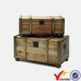 Tórax decorativos em madeira de abeto reciclado Organizador de troncos