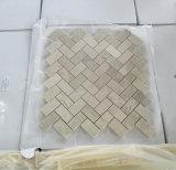 Mosaïque de marbre blanche d'arête de hareng de mosaïque de Carrare