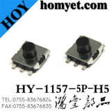 Interruptor do tacto com a tecla 5pin redonda de 6.2*6.2*3.1mm (SMD)