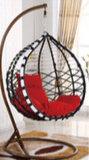 現代屋外の庭のクッションが付いているハングの卵の振動椅子