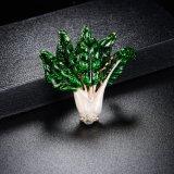 China Wholsale Vatagtable chapado en oro blanco esmalte verde Brooch